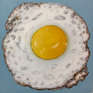 egg art, kitchen art, fried egg, fine art, realism
